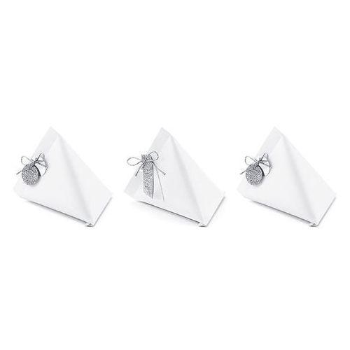 Pozostałe na ślub i wesele, Eleganckie białe pudełeczka dla gości z zawieszkami - 6 szt.