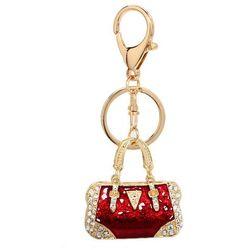 Breloczek - czerwona torebka z kryształkami