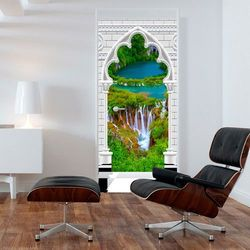 Fototapeta na drzwi - Tapeta na drzwi - Łuk gotycki i wodospad bogata chata