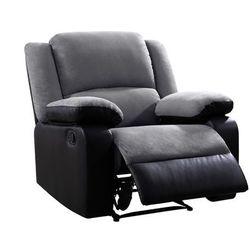 Fotel BILSTON II – typ relaks, mikrofibra i skóra syntetyczna – kolor szaro-czarny