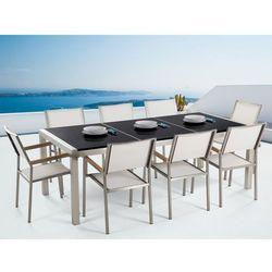 Meble ogrodowe - stół granitowy 220 cm czarny polerowany z 8 białymi krzesłami - GROSSETO