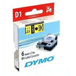 Dymo oryginalny taśma do drukarek etykiet, Dymo, 43618, S0720790, czarny druk/żółty podkład, 7m, 6mm, D1