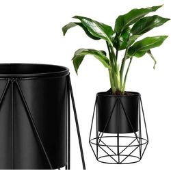 Stojak na kwiaty 26,5 cm z doniczką nowoczesny kwietnik loft czarny mat