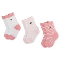 Zestaw 3 par wysokich skarpet dziecięcych LACOSTE - RA3542 r. OS Flamingo/White/Fairy Pink