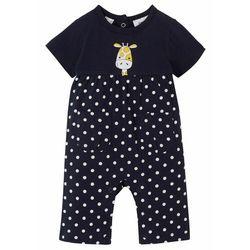 Pajacyk niemowlęcy z krótkim rękawem, bawełna organiczna bonprix ciemnoniebiesko-biały