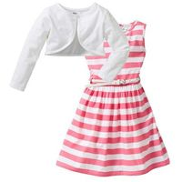 Zestawy odzieżowe dziecięce, Sukienka + pasek + bolerko (3 części) bonprix jaskrawy jasnoróżowy - biały w paski