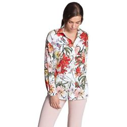 Koszula oversize- kwiaty/ecru - K53