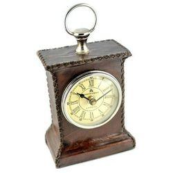 Mosiężno - skórzany zegar SOLID - CLK-0542, 11.5x5.5x16cm