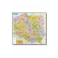 Mapy i atlasy turystyczne, Polska. Mapa administracyjno-samochodowa (listwa) laminowana mapa ścienna w skali 1:570 000 (opr. miękka)