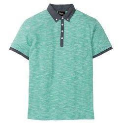Shirt polo z kołnierzykiem z tkaniny bonprix zielony melanż