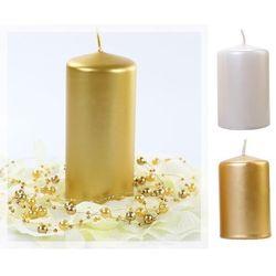 Świece klubowe pieńki metalizowane 120/60 x 6szt / perłowy lub złoty