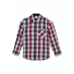 Koszula chłopięca z nadrukiem bonprix czerwono-niebieski w kratę