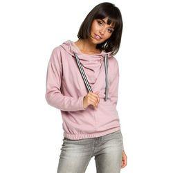 Damska bluza z kapturem z zakładką z przodu różowa B088