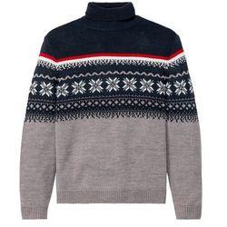 Sweter z golfem w norweski wzór bonprix szary melanż