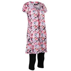 Długa tunika z kreszowanego materiału + legginsy 3/4 bonprix czarno-różowy w kwiaty
