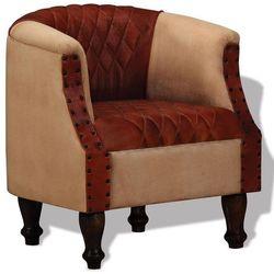 vidaXL Fotel, skóra prawdziwa oraz tkanina brązowa i beżowa Darmowa wysyłka i zwroty