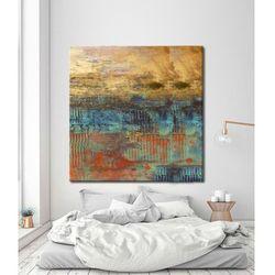 Abstrakcja ze złotem - abstrakcyjne obrazy do modnego salonu rabat 10%
