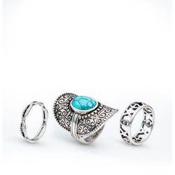 Komplet 3 pierścionków Boho bonprix kolor srebrny antyczny - turkusowy