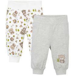 Spodnie niemowlęce z dżerseju (2 pary), bawełna organiczna bonprix biel wełny + naturalny melanż