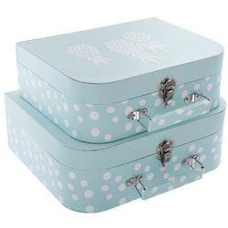 Pudełko ozdobne na drobiazgi ATOMIC HOME w kształcie walizki - 2 sztuki w komplecie, kolor niebieski