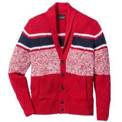 Sweter rozpinany z szalowym kołnierzem Regular Fit bonprix czerwono-ciemnoniebiesko-biały