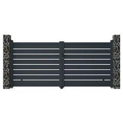 Brama wjazdowa rozwierna primo, ażurowa, z aluminium w kolorze antracytowym – 350 × 158 cm (szer. × wys.) marki Vente-unique.pl