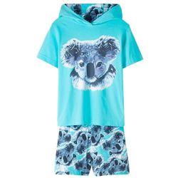 Shirt z kapturem + spódnico-spodnie (2 części) bonprix morski