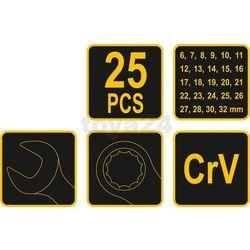 Klucze płasko-oczkowe 6-32mm,cv,kpl.25szt. satyna, etui Vorel 51715 - ZYSKAJ RABAT 30 ZŁ
