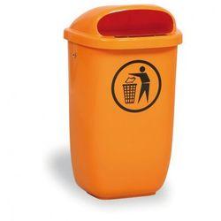 Zewnętrzny kosz na odpady na słupek DINO, pomarańczowy