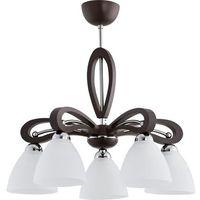 Lampy sufitowe, Lampa wisząca oprawa sufitowa zwis Alfa Gracja Vigo 5X60W E27 biały, brązowy 20895