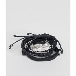 ASOS Leather And Plaited Bracelet Pack With Feather - Black