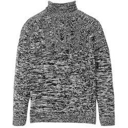 Sweter z golfem i wzorem w warkocze bonprix czarno-biel wełny melanż
