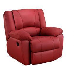 Skórzany fotel z funkcją relaks AROMA - Czerwony