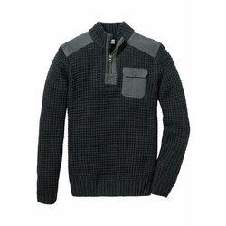 Sweter ze stójką i wstawkami z tkaniny bonprix antracytowy melanż
