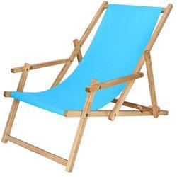 Leżak drewniany impregnowany z podłokietnikami niebieski