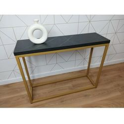 Elegancka złota konsola do salonu MILO1 wytrawny szary kamień 3,6