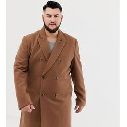 ASOS DESIGN Plus wool mix double breasted overcoat in dark camel - Tan