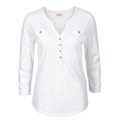 Bluzki, Shirt, rękawy 3/4, bawełna organiczna bonprix biel wełny