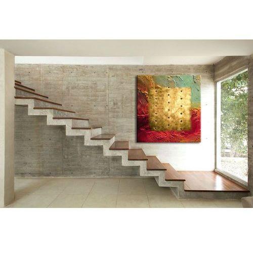 """Obrazy, Zachwycający kształtem, kolorem i teksturą abstrakcyjny obraz """"barwy i metal"""" rabat 15%"""