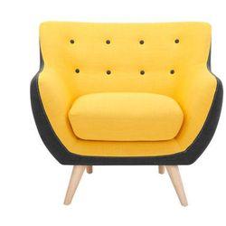 Fotel z tkaniny SERTI - Żółty i antracytowe brzegi