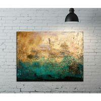 Obrazy, Fakturowany obraz do salonu - szmaragd w złocie rabat 15%