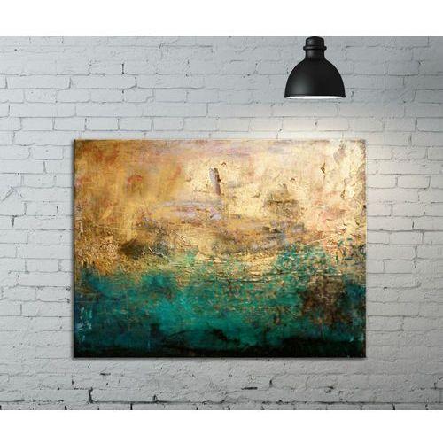Obrazy, Fakturowany obraz do salonu - szmaragd w złocie rabat 10%