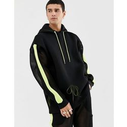 ASOS DESIGN co-ord hoodie in mesh with neon highlights and side stripe - Black