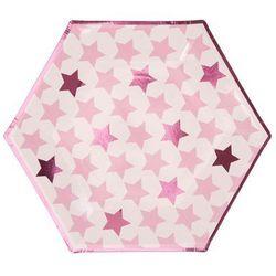 Talerzyki papierowe Gwiazdki różowe - 27 cm - 8 szt.