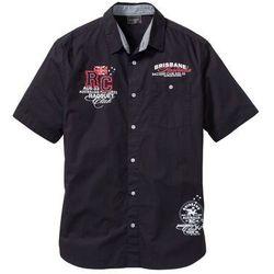 Koszula z krótkim rękawem i nadrukiem bonprix czarny