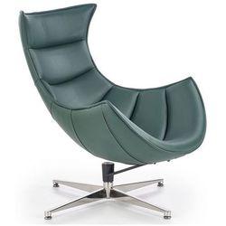 Skórzany obrotowy fotel wypoczynkowy Lavos - zielony