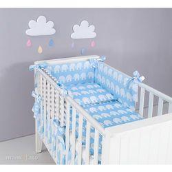 MAMO-TATO Ochraniacz rozbieralny do łóżeczka 60x120 Słoń niebieski / zygzak szary