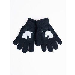 Rękawiczki dziecięce pięciopalczaste z odblaskiem czarne z jednorożcem 16