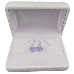 Kolczyki srebrne regularne niebieskie kryształy o długości 2,5 cm SKK02