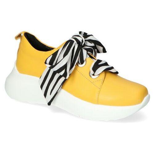 Damskie obuwie sportowe, Sneakersy Karino 3375/070-P Żółte lico
